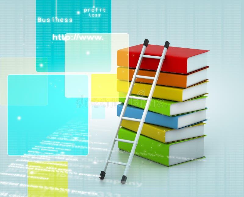 Libros y escalera ilustración del vector