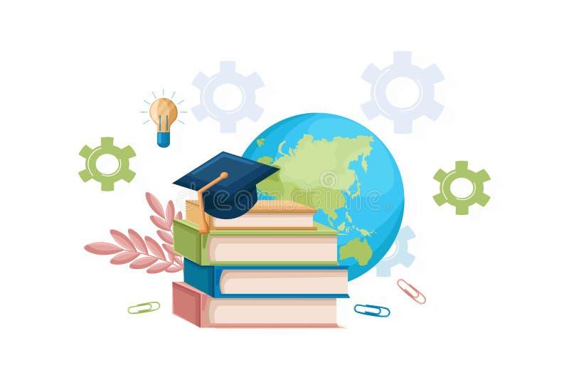 Libros y estilo plano del vector del sombrero de la graduación Plantilla del conocimiento de los símbolos Conceptos mundiales del ilustración del vector