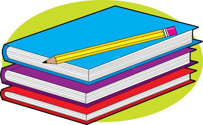 Libros y lápiz stock de ilustración