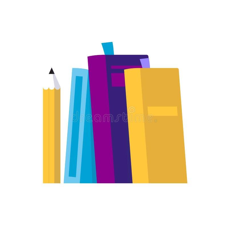 Libros y lápiz - ejemplo aislado del vector en el estilo plano, icono para aprender, estudiando, educación, universidad ilustración del vector