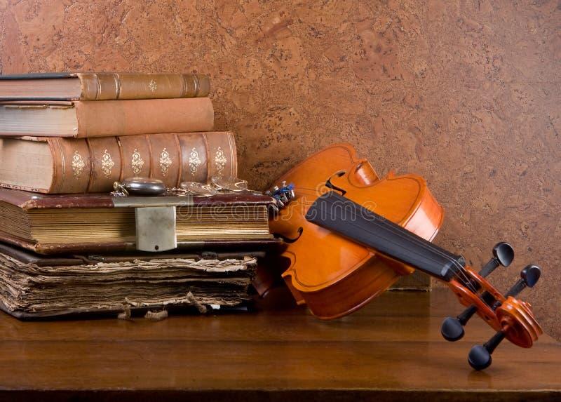 Libros y violín imágenes de archivo libres de regalías