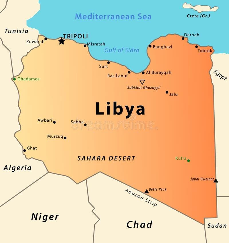 libya översikt royaltyfri illustrationer