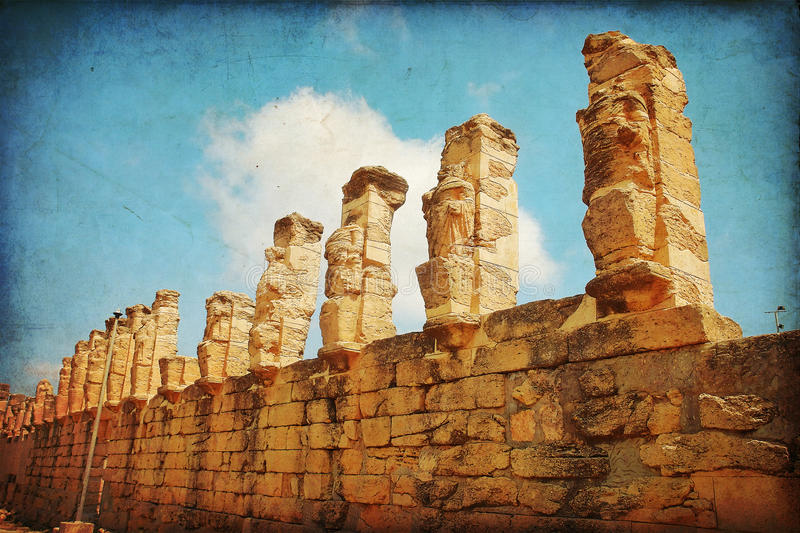 Libya. The ancient Porch of Erme, or Caryatids, at Cyrene in Libya royalty free stock photography