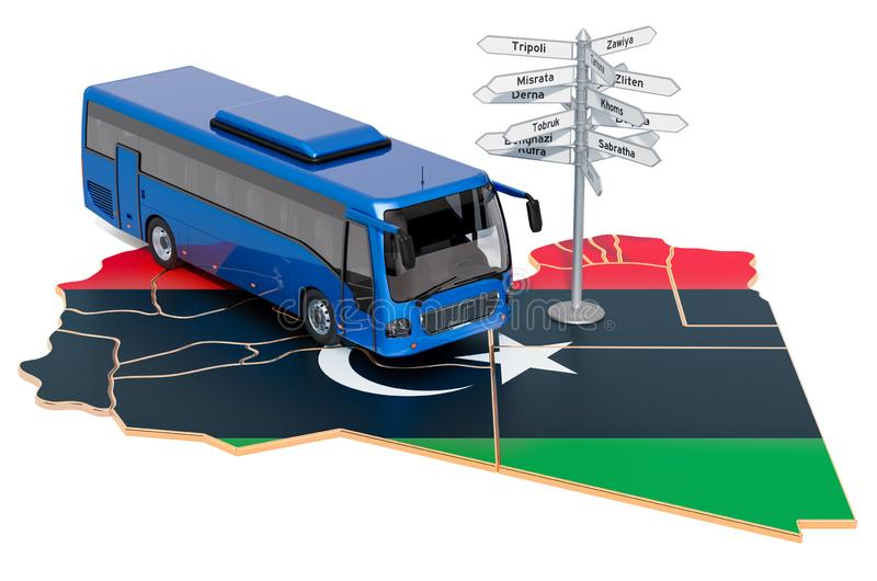 Libya Bus Tours concept. 3D rendering. Isolated on white background stock illustration