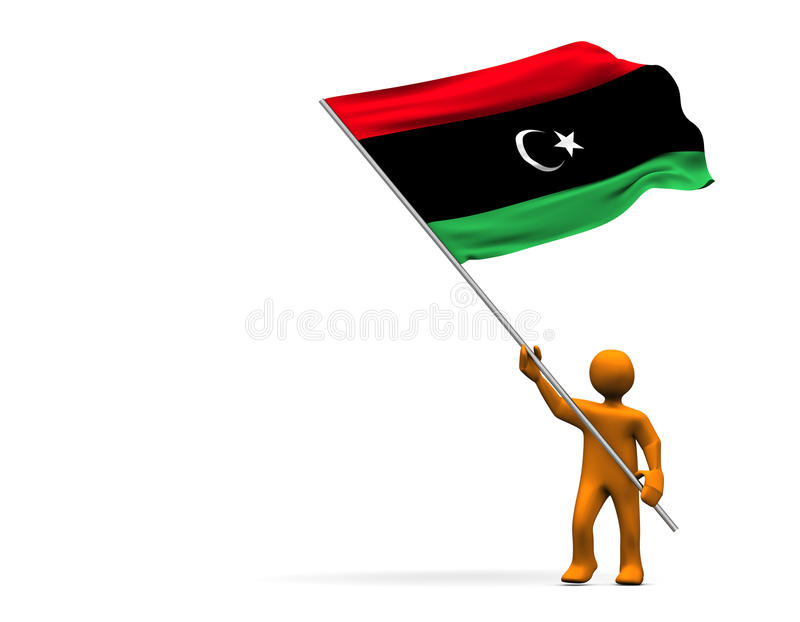 Libya Flag. Illustration looks a fan with a big flag of Tibet stock illustration