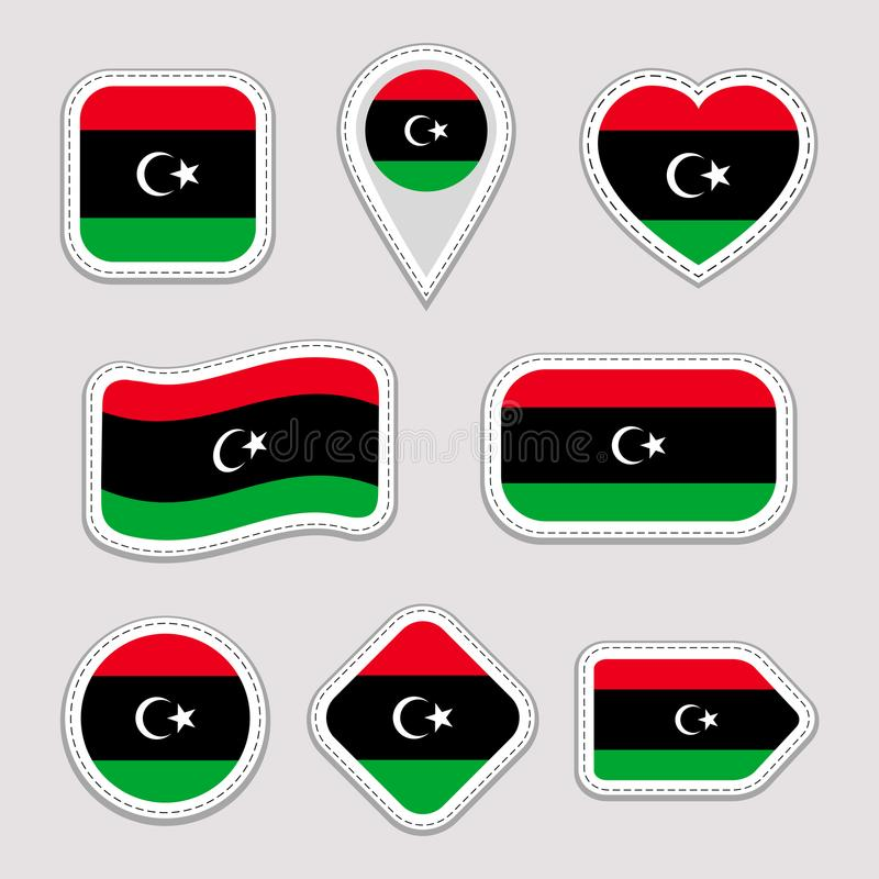 Libya flag vector set. Libyan flags stickers collection. Isolated geometric icons. National symbols badges. Web, sport stock illustration