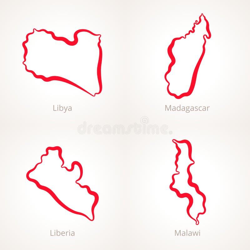 Libya Madagascar Liberia And Malawi Outline Map Stock Vector - Malawi blank map