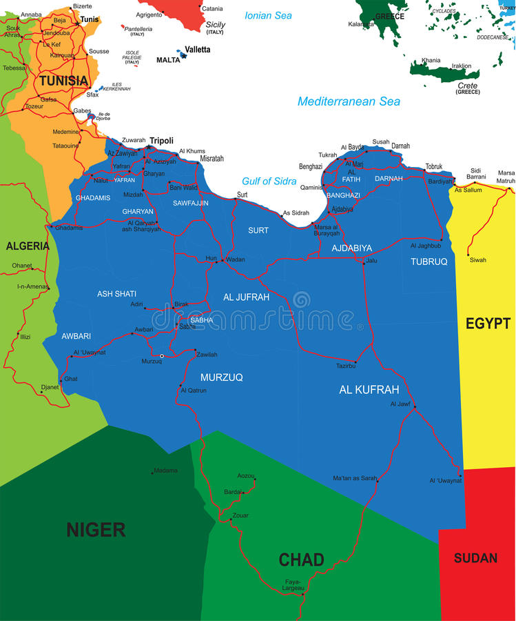 Download Libya map stock vector. Image of sudan, geography, tripoli - 26651425