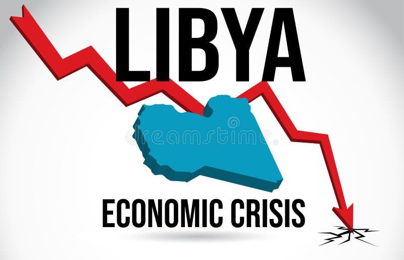 Libya Map Financial Crisis Economic Collapse Market Crash Global Meltdown Vector. Illustration stock illustration