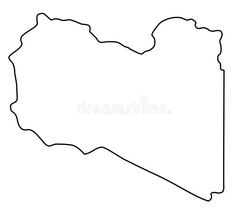 Libya map outline vector illustration. Isolated on white background stock illustration