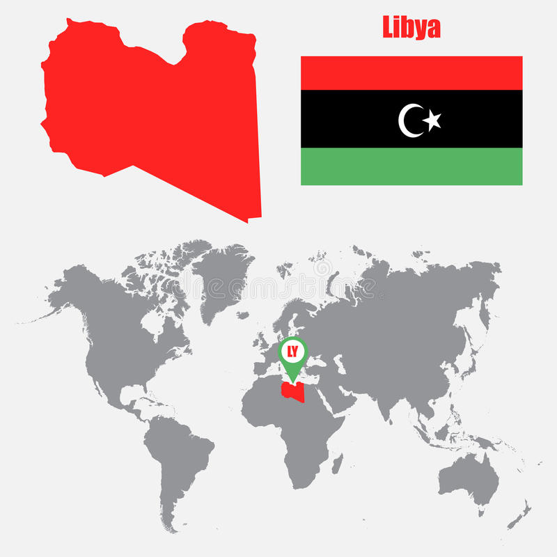 Libya map on a world map with flag and map pointer vector download libya map on a world map with flag and map pointer vector illustration stock gumiabroncs Image collections