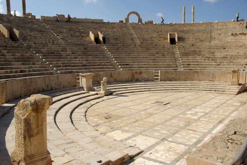 libya roman theatre royaltyfria foton