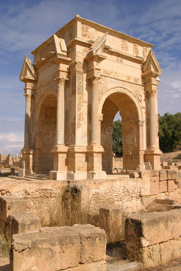 Libya Tripoli Leptis Magna. Roman archaeological site Arch of Septimus Severus Unesco World Heritage Site stock photos