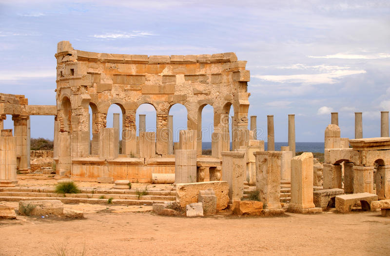 Libya Tripoli Leptis Magna. Ancient Roman City - UNESCO World Heritage Site royalty free stock images