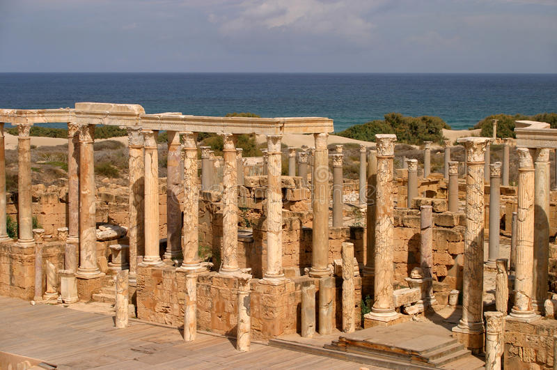 Libya Tripoli Leptis Magna Amphitheater. Libya Tripoli Leptis Magna Ancient Roman City overlooking the Mediterranean. UNESCO World Heritage Site royalty free stock photography