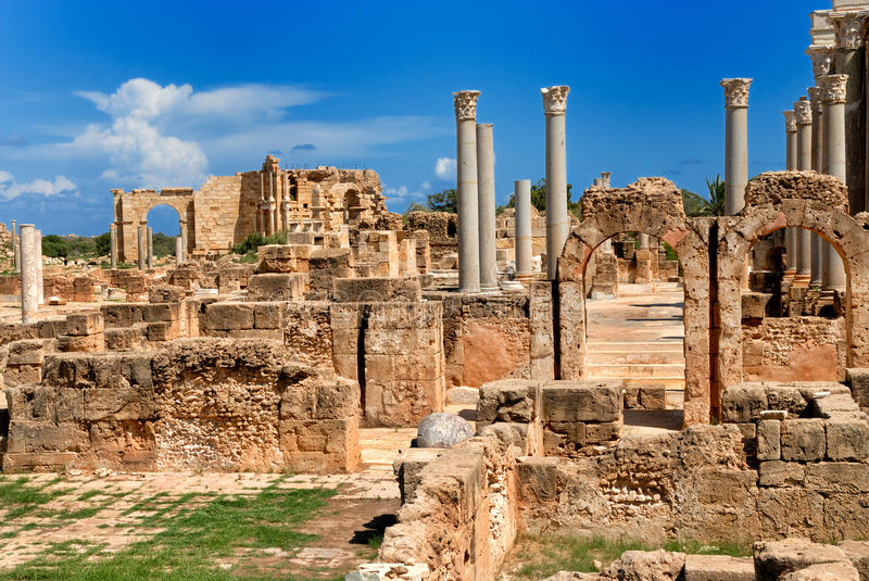 Libya Tripoli Leptis Magna Roman archaeological site Unesco. World Heritage Site royalty free stock photography
