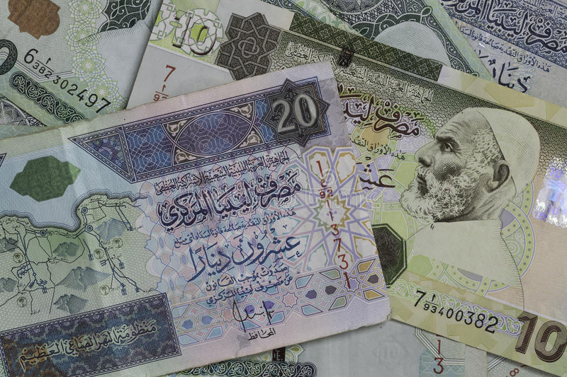 Libyan money. The dinar is the currency of Libya royalty free stock photo