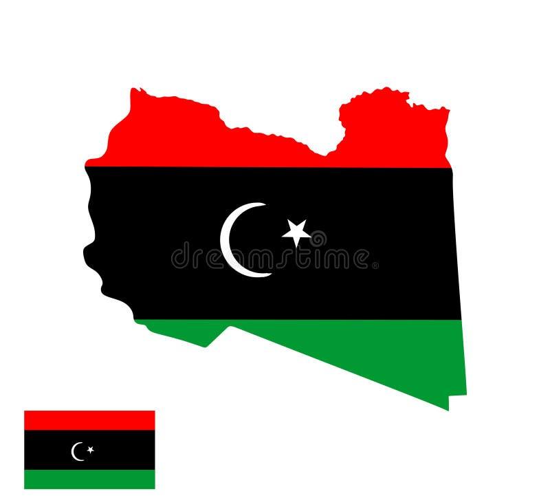 Libyen översiktskontur och flagga royaltyfri illustrationer
