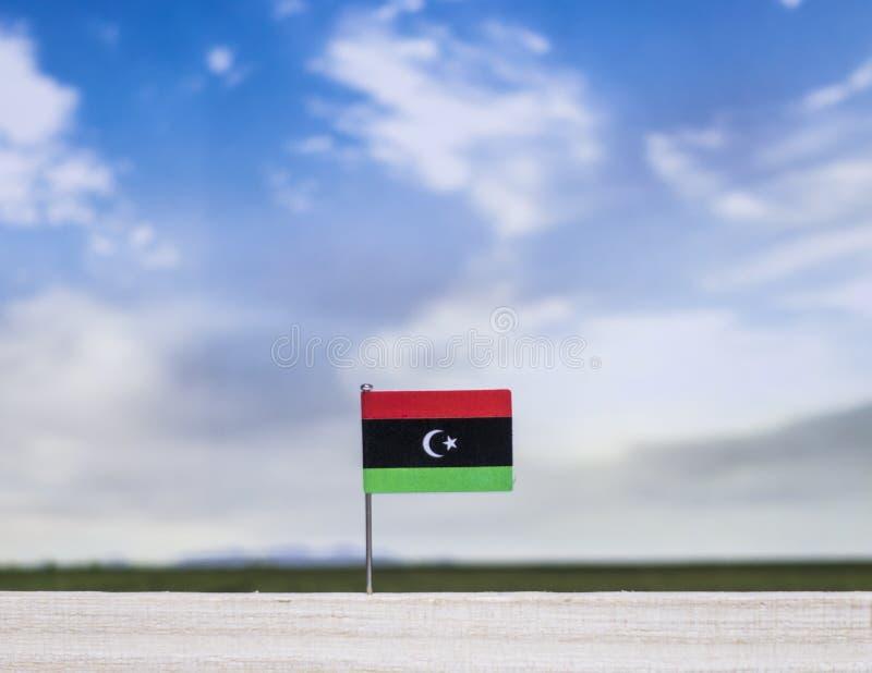 Libyen flagga med den vidsträckta ängen och blå himmel bak den arkivfoto