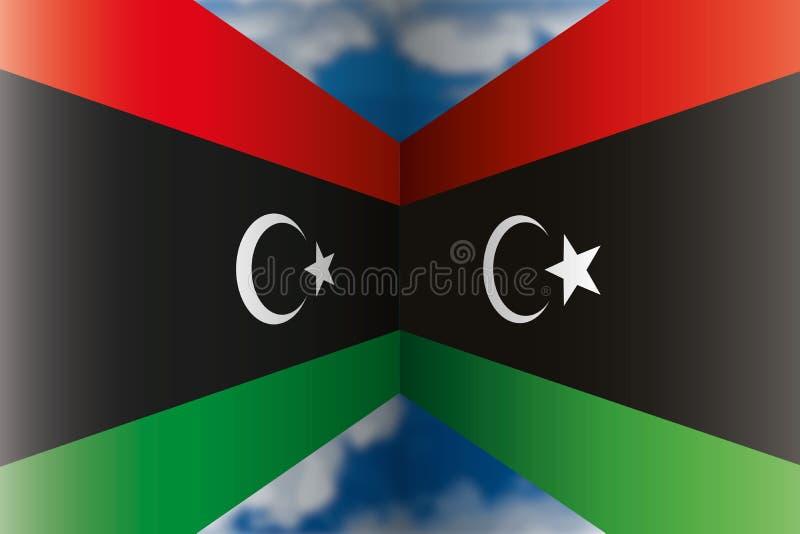 Libyen vs Libyen flaggor, vektorillustration stock illustrationer