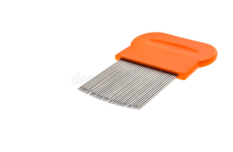 Lice comb for home removing lice treatment isolated on white. stock photo