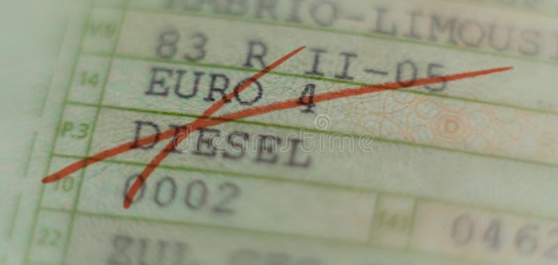 A licença do veículo motorizado cruzou-se para fora com o marcador vermelho, conduzindo a proibição em cidades alemãs em Alemanha imagem de stock royalty free