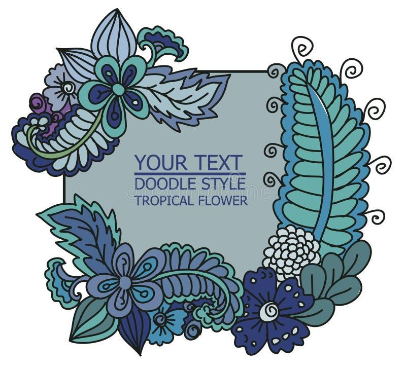 Licença tropical e flor para o fundo ilustração stock