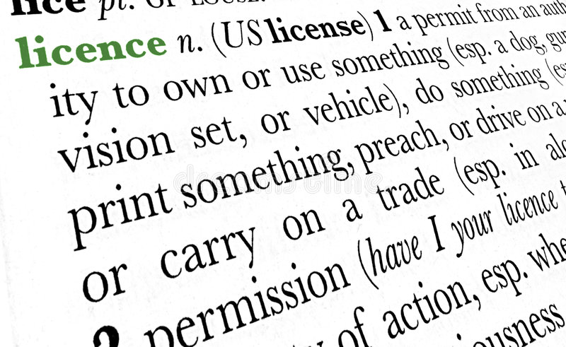 Licence word dictionary term stock photos