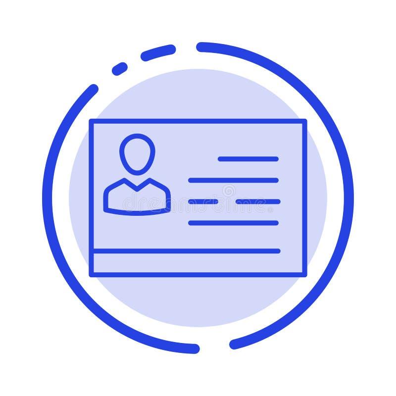 Licencia de trabajar, licencia, tarjeta, documento de identidad, línea de puntos azul línea icono de la identificación libre illustration