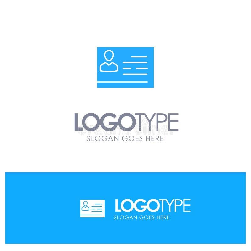 Licencia de trabajar, licencia, tarjeta, documento de identidad, logotipo sólido azul de la identificación con el lugar para el t stock de ilustración