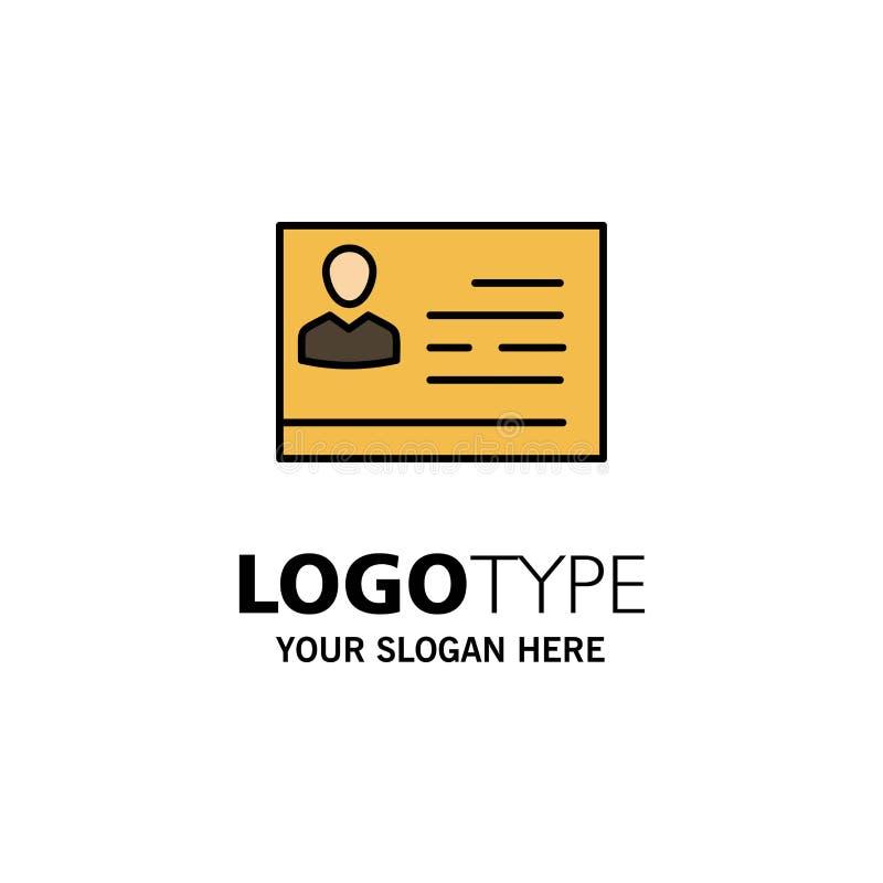 Licencia de trabajar, licencia, tarjeta, documento de identidad, negocio Logo Template de la identificación color plano ilustración del vector