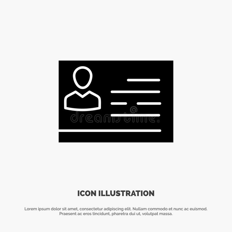 Licencia de trabajar, licencia, tarjeta, documento de identidad, vector sólido del icono del Glyph de la identificación libre illustration
