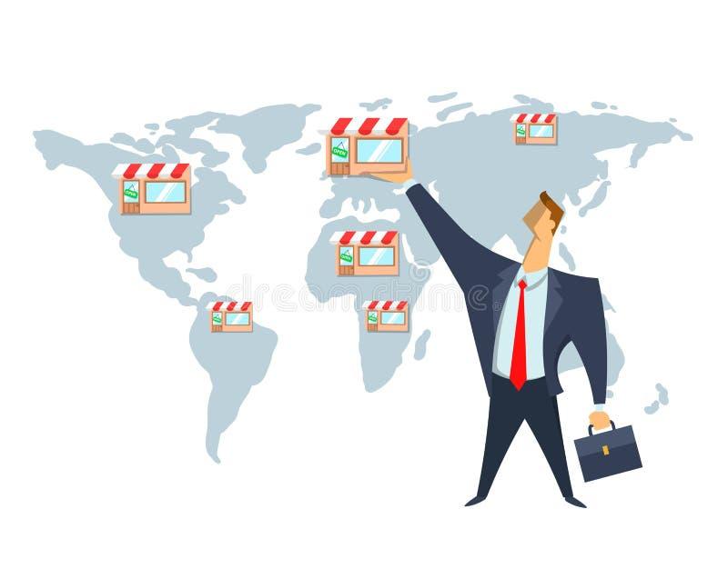 Licencia, red comercial, ejemplo del vector del concepto El hombre de negocios pone tiendas en el mapa del mundo Escalamiento del ilustración del vector