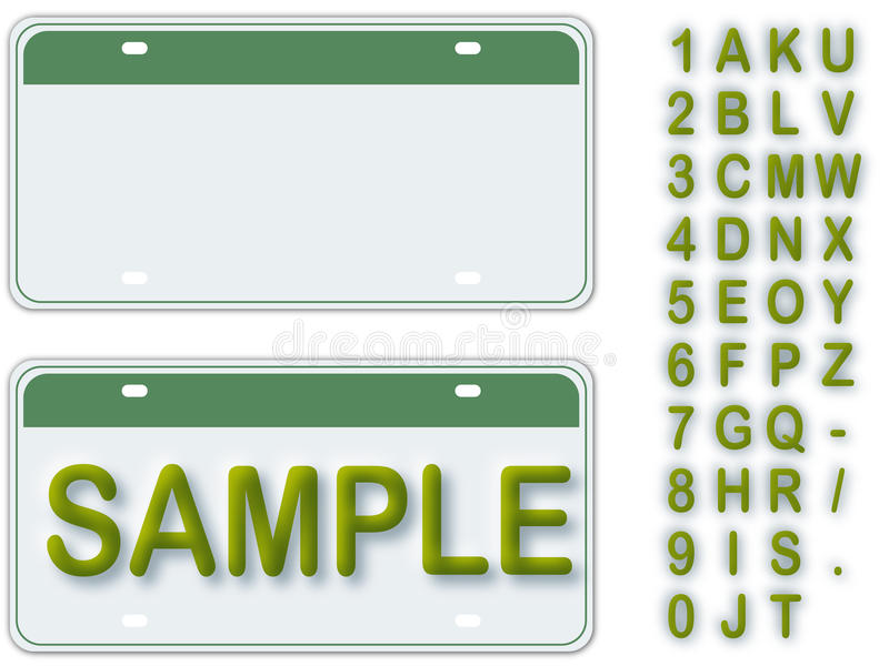 License Plate. Empty License Plate With Editable Live Text vector illustration
