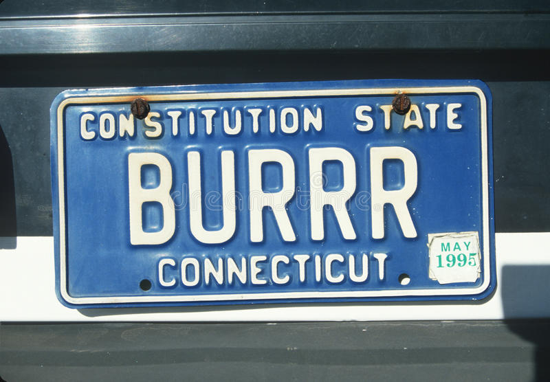 License Plate in Connecticut. Vanity License Plate in Connecticut royalty free stock photography