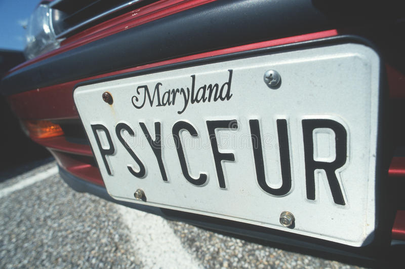 License Plate in Maryland. Vanity License Plate in Maryland royalty free stock photography