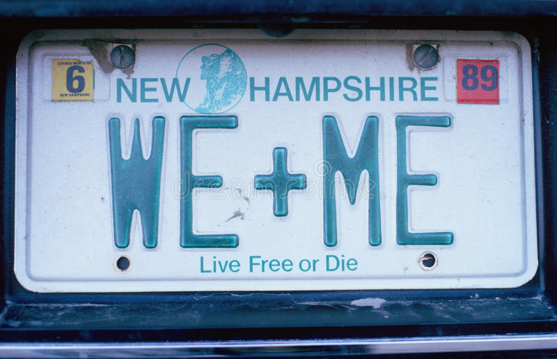 License Plate in New Hampshire. Vanity License Plate in New Hampshire royalty free stock photo