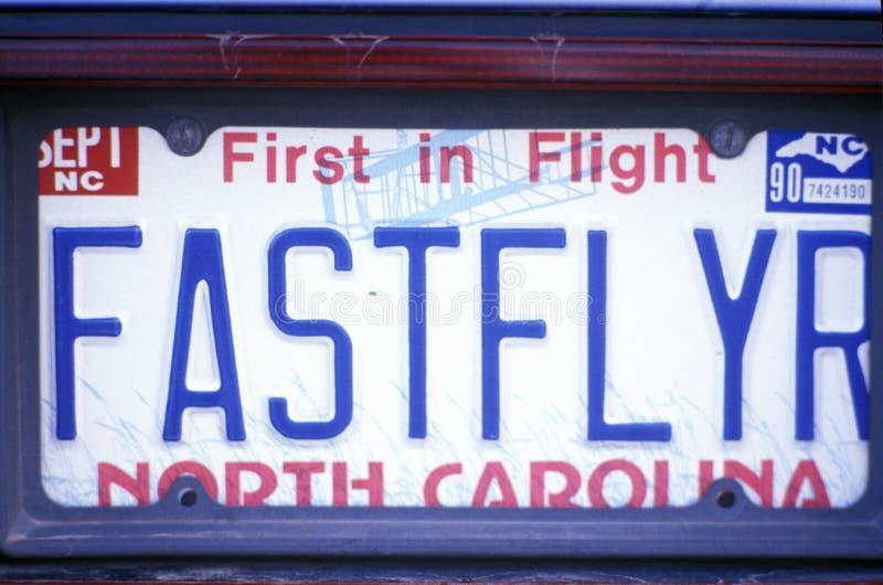 License Plate in North Carolina. Vanity License Plate in North Carolina royalty free stock images