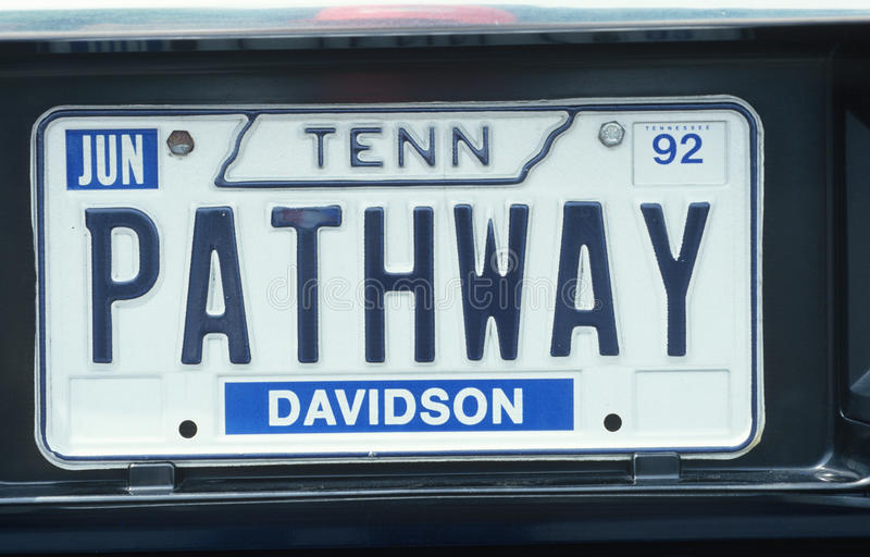 License Plate in Tennessee. Vanity License Plate in Tennessee stock image