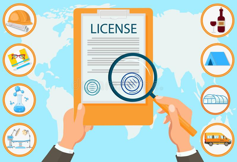 License Law Firm Certified Documents Contract. License Vector Flat Law Firm Certified Documents Contract Approved Seal. Businessman with Magnifying Glass Checks vector illustration
