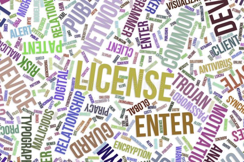 Licensera, det begreppsmässiga ordmolnet för affär, informationsteknik eller IT royaltyfri illustrationer