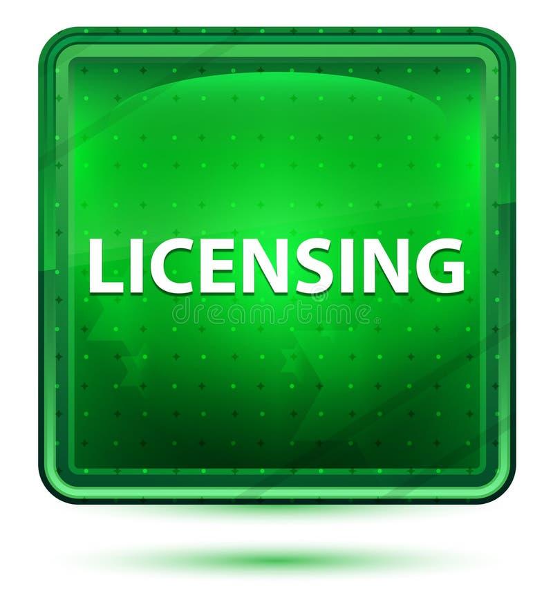 Licensera ljust för neon - grön fyrkantknapp vektor illustrationer
