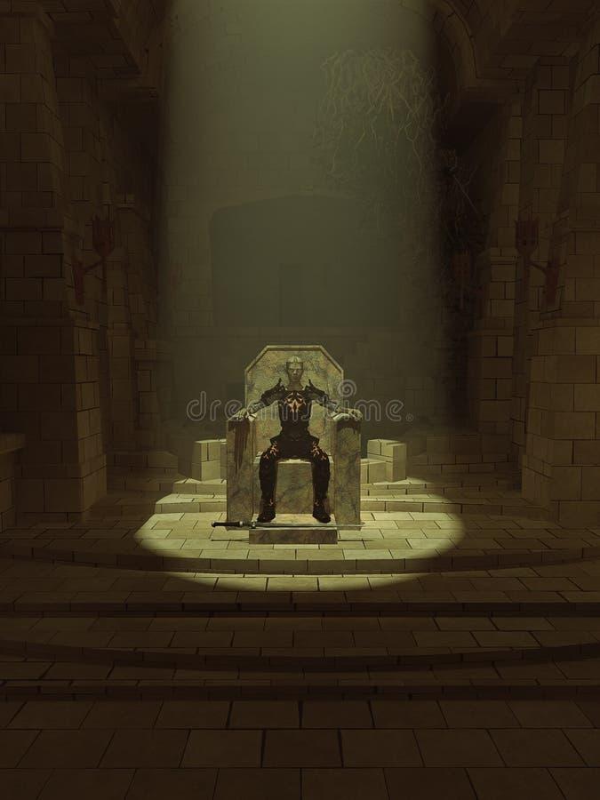 Lich konung på hans mörka biskopsstol royaltyfri illustrationer