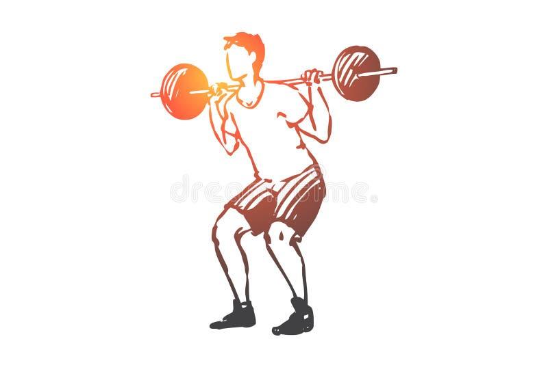 Lichaam, fitness, gymnastiek, sport, mensenconcept Hand getrokken ge?soleerde vector stock illustratie