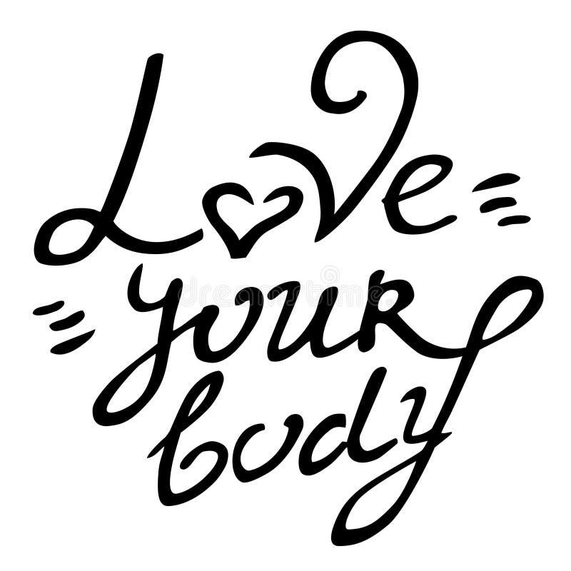 Lichaam positieve vectorhand getrokken het van letters voorzien liefde uw lichaam stock illustratie