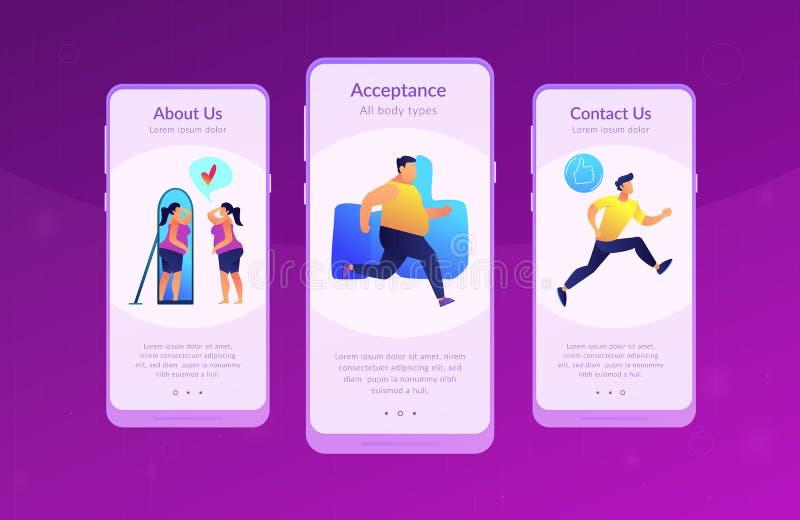 Lichaams positief app interfacemalplaatje vector illustratie