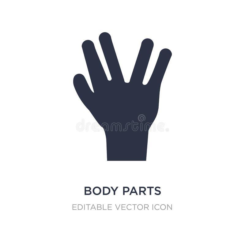 lichaamsdelenpictogram op witte achtergrond Eenvoudige elementenillustratie van Guestures-concept stock illustratie