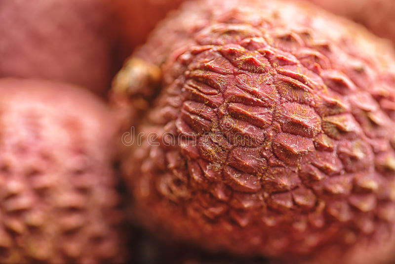 Lichee on wooden table, litchi, lychee fruit detail royalty free stock photography