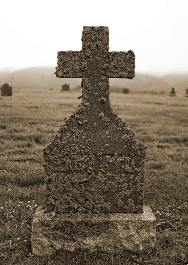 Lichen Covered Tombstone stock image