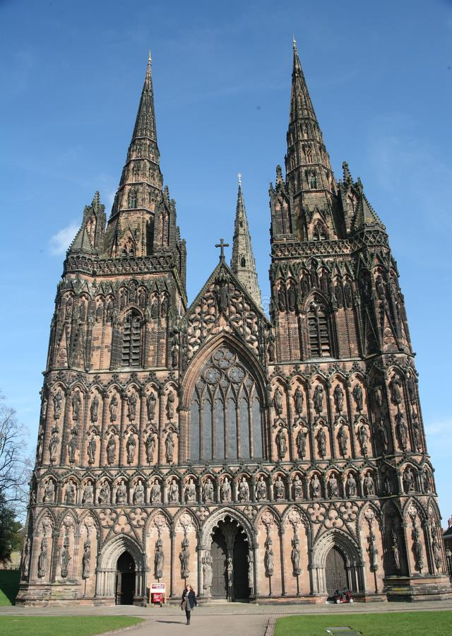 Lichfield Cathedral. Church, god, christ, ecclesiastical, spires, blue, religion stock photography